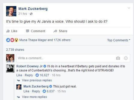 Facebook's Mark Zuckerberg may have found his AI assistant — Iron Man himself | Future Trends | Scoop.it