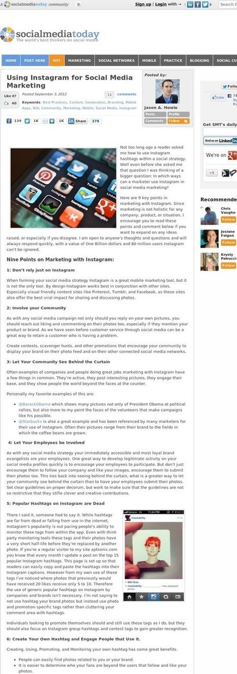 Using Instagram for Social Media Marketing | Using Social media for branding | Scoop.it
