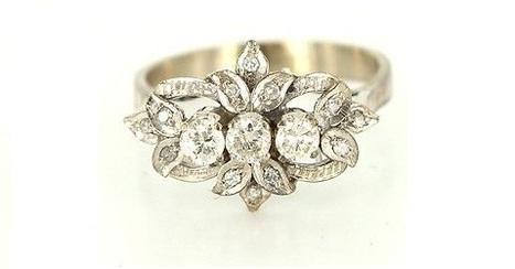 Vintage 14 Karat White Gold Diamond Cocktail Ring | Rings of the World | Scoop.it