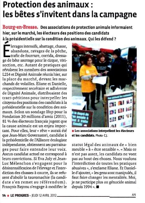 Le Progrès, 12/04/2012 | Politique & animaux | Scoop.it