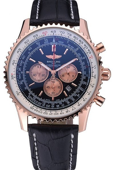 Men's Replica Breitling Navitimer 01 Black Dial Rose Gold Case Black Leather Bracelet-$245.00 | Men's & Women's Replica Watches Collection Online | Scoop.it