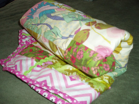 "Beautiful Original ""Floral Garden"" Memory Baby Quilt in Pink, Green, Yellow, Blue Very Girly 