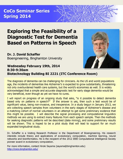 "Next CoCo seminar by Dave Schaffer on Wednesday February 19th: ""Exploring the Feasibility of a Diagnostic Test for Dementia Based on Patterns in Speech"" 