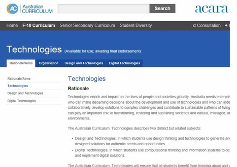 The Australian Curriculum v6.0 Technologies: Technologies   Educating for a Sustainable Future with Technologies   Scoop.it
