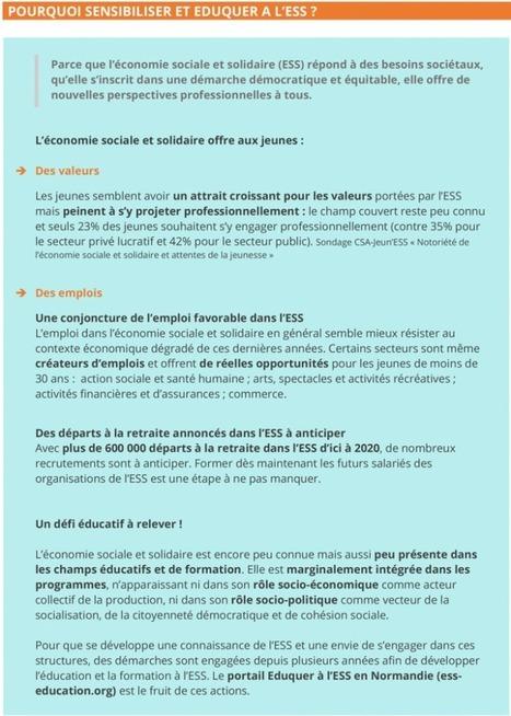 - Un portail pour éduquer à l'économie sociale et solidaire en Normandie | L'actualité sur l'emploi, les métiers et la formation dans l'ESS | Scoop.it
