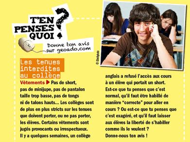 A2--T'en penses quoi ? Les tenues interdites au collège - Géo Ado | FLE en Italie | Scoop.it