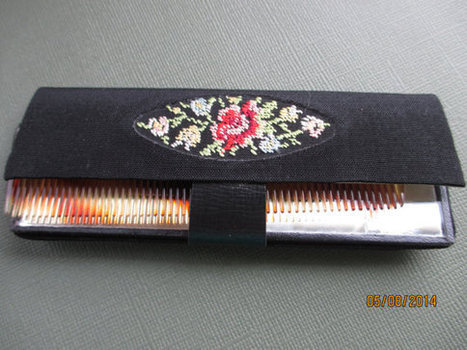 Vintage Western Germany Needlepoint ladies comb case with tortoise comb and mirror. 1950s. | vintage jewelry | Scoop.it