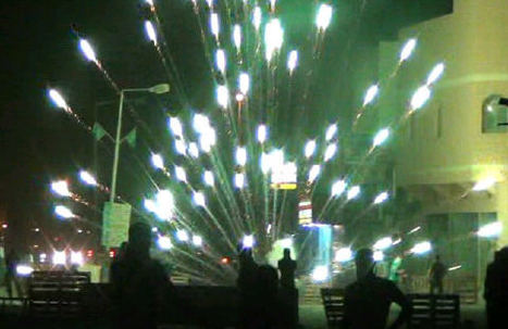 Protesters use fireworks to disturb the mercenaries.... | Human Rights and the Will to be free | Scoop.it