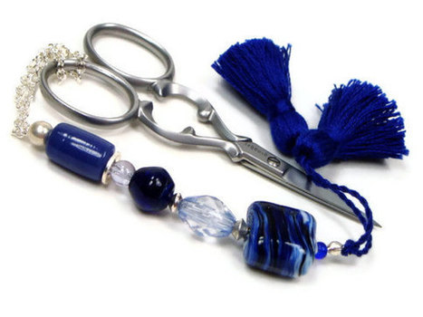 Beaded Scissor Fob, Quilting, Sewing, Cross Stitch, Gift for Crafter, Navy Blue, DIY Crafts, TJBdesigns, Direct Checkout | CROSS STITCHING FOR STITCHERS WHO LOVE TO STITCH | Scoop.it