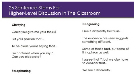 26 Sentence Stems For Higher-Level Discussion In The Classroom | Applied linguistics and knowledge engineering | Scoop.it