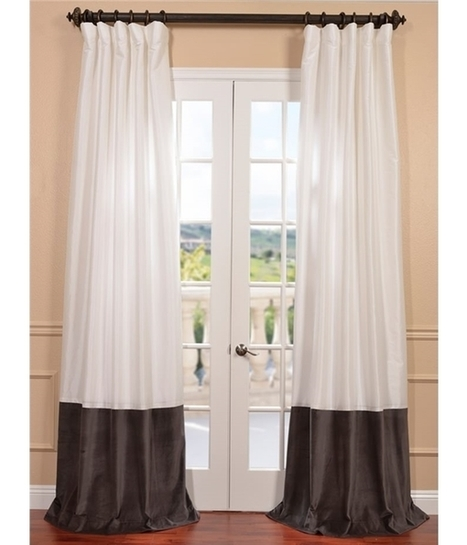 Banded Egg Shell Faux Silk Taffeta & Iron Grey Cotton Velvet Curtains | window curtains | Scoop.it