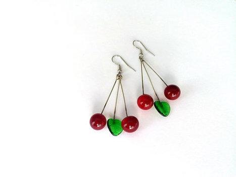 Lampwork Earrings- Spring Trends- Cherry  Earrings-  Glass Jewellery- Retro- Unique- Gift- Jewelry- Handmade Earrings-  Red- Murano Earrings | My Jewelrys | Scoop.it