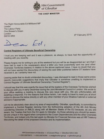 Superb letter from Gibraltar Chief Minister to Ed Milliband highlights just how hapless the UK Labour leader is. | Totally Tax | Scoop.it