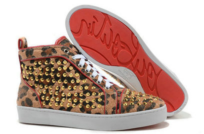 Leopard Christian Louboutin High Sneakers Gold Spike Red Sole [10030] - $135.00 : Cool Louboutins, Christian Louboutin Shoes Cool ,Cool Spiked Pump | Fashion shoes | Scoop.it
