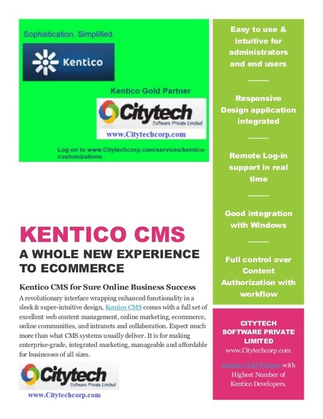 KENTICO CMS A WHOLE NEW EXPERIENCE TO ECOMMERCE | Web Development Services | Scoop.it