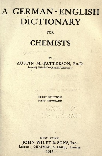 "(DE, EN) Full text of ""A German-English dictionary for chemists"" 