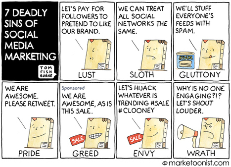 """7 Deadly Sins of Social Media Marketing"" Cartoon 