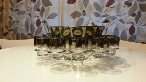 Vintage 1960s Silver Ombre Set With 12 LowBall Glasses | AtomicVault.etsy.com | Scoop.it