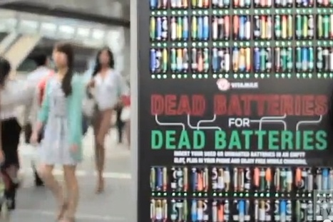 Phone Charging Station Powers Devices Using Dead Batteries [Video] #creativemarketing | MarketingHits | Scoop.it