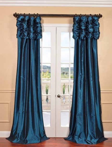 Azul Ruched Faux Solid Taffeta Curtain | window curtains | Scoop.it