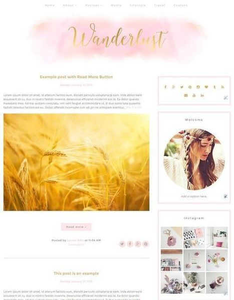 Premade Blogger Template - Instant Download - Wanderlust - Blogger Template - blogger theme - blog design - blogspot template | Blogger themes | Scoop.it
