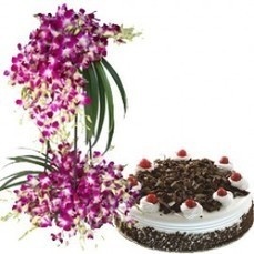 Orchid Bouquet With Black Forest - Cakes | Trendy Dresses | Scoop.it