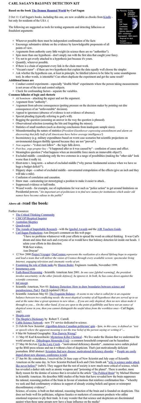 Carl Sagan's Baloney Detection Kit | Edumathingy | Scoop.it