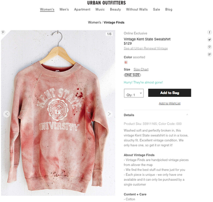 snopes.com: Urban Outfitters Sells Bloody Kent State Shirt | Society and culture: The English speaking world | Scoop.it