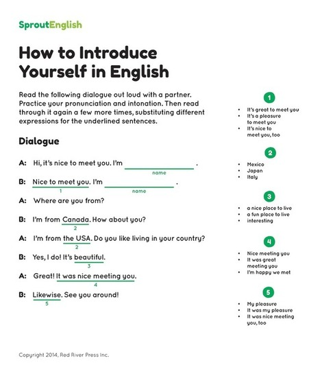 How to Introduce Yourself in English | Sprout English | ESL learning and teaching | Scoop.it
