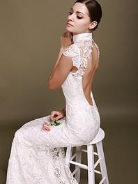 Backless Mermaid Wedding Dress with Lace Cap Sleeves | Little Black Dress | Scoop.it