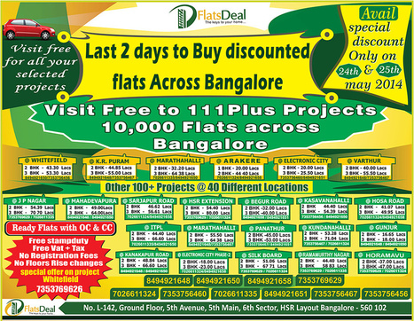 Flats Deal discounted offer on Apartments in Bangalore | FlatsDeal | Scoop.it