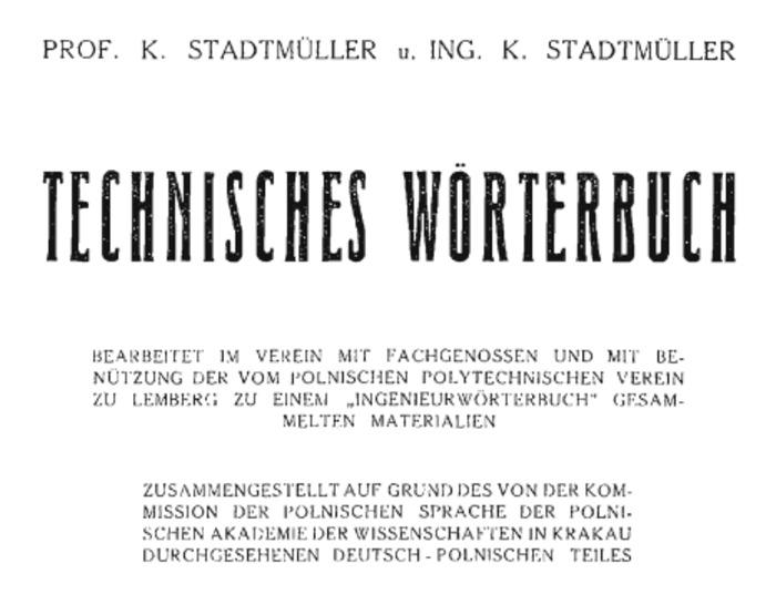(PL) (DE) (PDF) - SŁOWNIK TECHNICZNY / Technisches Wörterbuch (P-Z, 1936) |  K. STADTMÜLLER | Glossarissimo! | Scoop.it