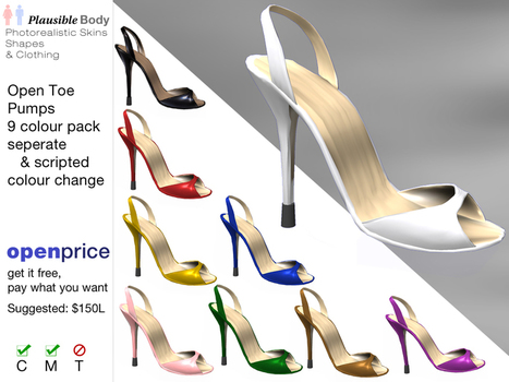 Open Toe High Heel Pumps (9 Colors Fatpack) by Plausible Body | Teleport Hub - Second Life Freebies | Second Life Freebies | Scoop.it
