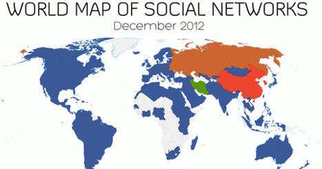 Carte mondiale des réseaux sociaux (décembre 2012) - Geek &Social | éducation et réseaux sociaux | Scoop.it