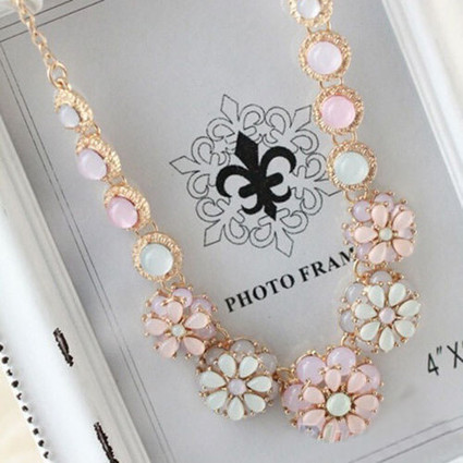 Gemstone and  Pearl Flower Bib Statement Necklace and Chain   Online Shopping   Scoop.it
