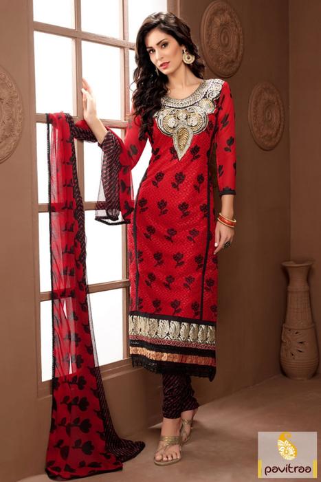 Black Red Georgette Santoon Party Wear Embroidery Salwar Suit   Pavitraa   Scoop.it