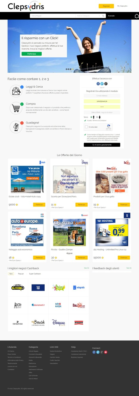 Clepsydris.it is an Italian Cashback Website Designed & Developed by iLead Digital  | Affiliate Website CMS Design and Development | Scoop.it
