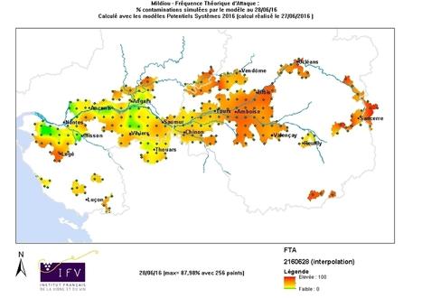 Carte de modélisation des risques de maladies #mildiou dans les vignobles de Loire | Winemak-in | Scoop.it