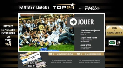 Jeu Fantasy TOP 14-PMU 2013/14 encore plus compétitive, excitante et mobile ! | Coté Vestiaire - Blog sur le Sport Business | Scoop.it