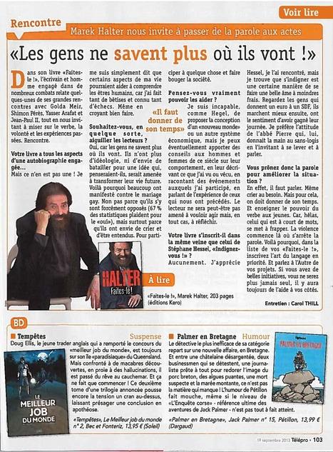 """TéléPro - Faites-le!:  """"L'écrivain et homme engagé [...] relate quelques-unes de ses grandes rencontres.""""   Marek Halter   Scoop.it"""