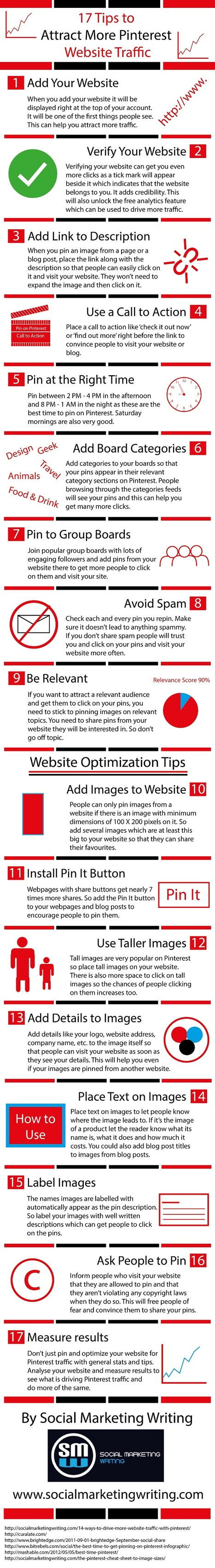 17 Tips To Attract More Pinterest Website Traffic (Infographic) - Business 2 Community | Better know and better use Social Media today (facebook, twitter...) | Scoop.it