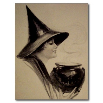Vintage Halloween Card | Solitary Green Earth Witch | Scoop.it
