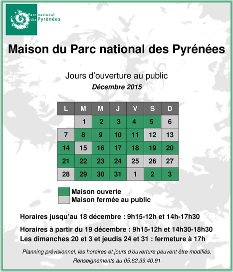 Horaires d'ouverture de la Maison du Parc national des Pyrénées à Saint-Lary   Vallée d'Aure - Pyrénées   Scoop.it
