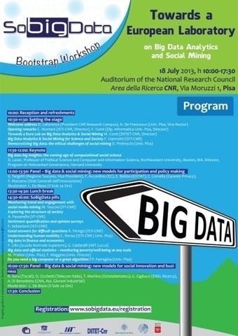OVER: SoBigData - Towards a European Laboratory on Big Data Analytics and Social Mining: PISA Thursday, 2013, July 18 - 10:00am to 6:00pm | FuturICT Events of Interest | Scoop.it