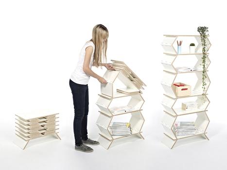 meike harde unfolds the wooden stockwerk shelf - designboom | architecture & design magazine | Design products | Scoop.it