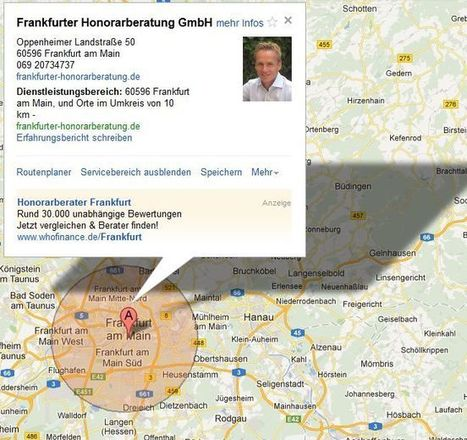 """""""Servicebereich anzeigen"""" – Das Einzugsgebiet auf Google Maps   Lokale Suche News   Scoop.it"""