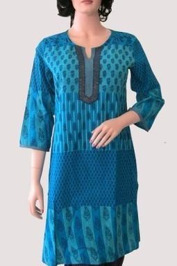 Alpinefashion® Turquoise Cotton Casual Kurti | Buy online @ Rs269.00 | KURTIS | Scoop.it
