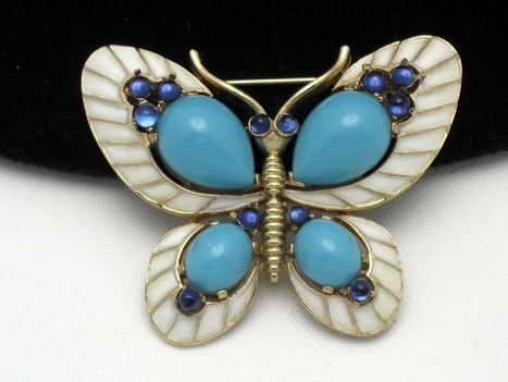 Collectible CROWN TRIFARI Brooch 1968 L'ORIENT Cabochon  Butterfly | Pop Goes the Gems! | Scoop.it