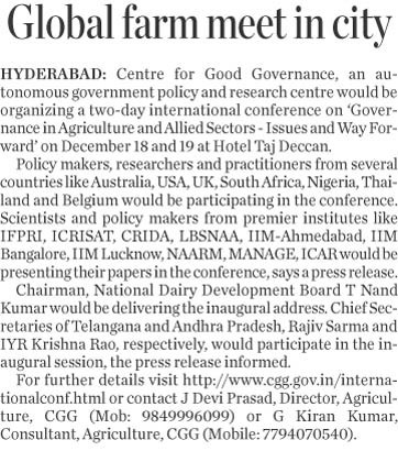 Global Farm Meet in City | Centre For Good Governance | Scoop.it