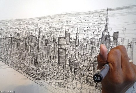 Autistic artist Stephen Wiltshire draws spellbinding 18ft picture of New York from memory... after a 20-minute helicopter ride over city | Inspiring Creativity | Scoop.it